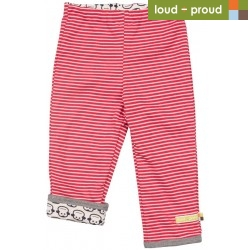 loud + proud - Bio Baby Wende Sweathose mit Streifen und Affen-Motiv, tomato
