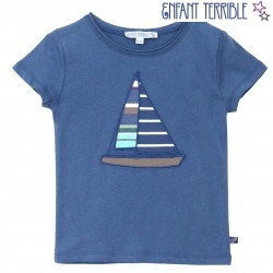T-Shirt mit Segelschiff-Applikation