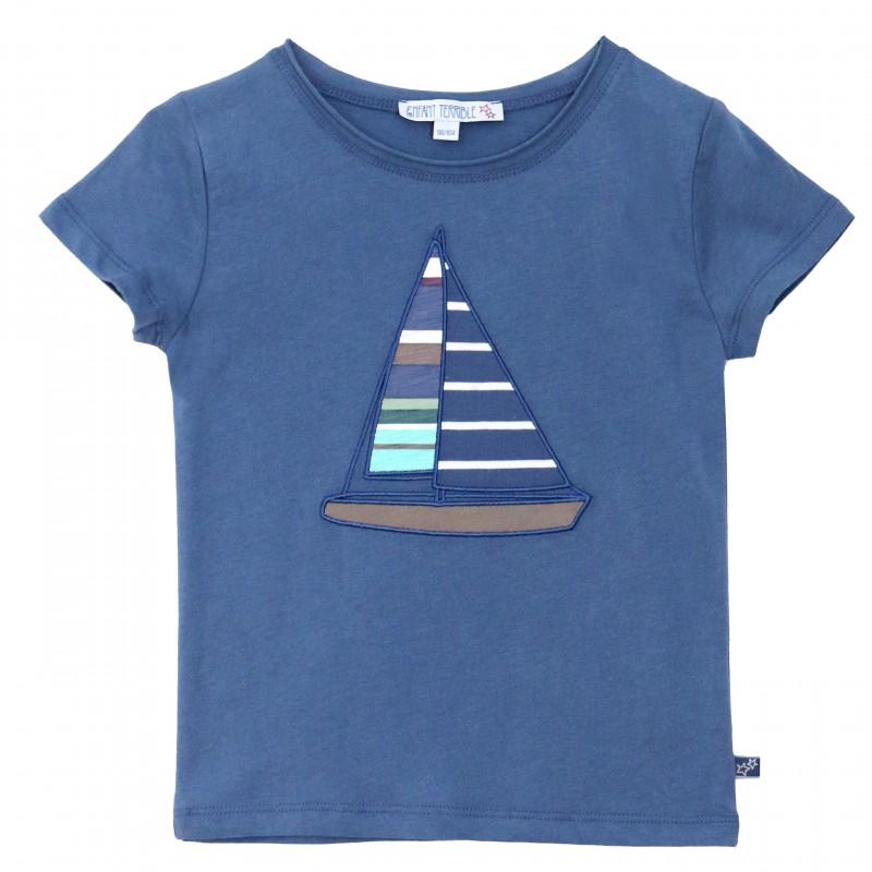 Segelboot applikation  Enfant Terrible - Bio Kinder T-Shirt mit Segelboot-Motiv ...