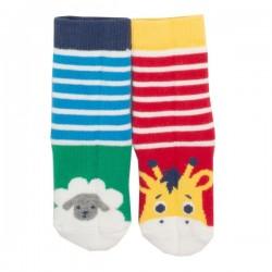 """kite kids - Bio Baby Stopper Socken mit Tier-Motiven """"Giraffe und Schaf"""" 2er Pack"""