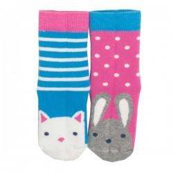 """kite kids - Bio Baby Stopper Socken mit Tier-Motiven """"Katze und Hase"""" 2er Pack"""