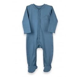 ORGANIC by Feldman - Bio Baby Strampler mit Fuß Schutzengel-Motiv, blau