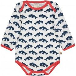 loud + proud - Bio Baby Body langarm mit Orca-Druck, marine
