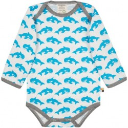 loud + proud - Bio Baby Body langarm mit Orca-Druck, aqua