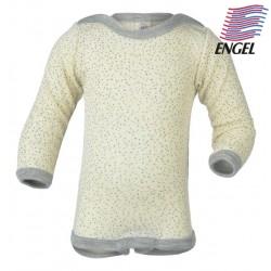 ENGEL - Bio Baby Body langarm mit Punkten, Wolle/Seide, natur