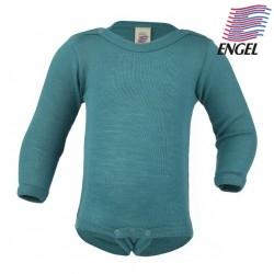 ENGEL - Bio Baby Body langarm, Wolle/Seide, eisvogel