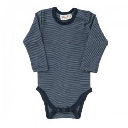 People Wear Organic - Bio Baby Body langarm Wolle/Seide, blau
