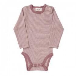 People Wear Organic - Bio Baby Body langarm mit Streifen Wolle/Seide, rosa