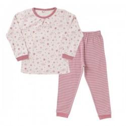 People Wear Organic - Bio Kinder Schlafanzug mit Streifen und Weltraum-Allover