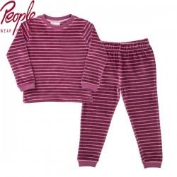People Wear Organic - Bio Kinder Nicki Schlafanzug mit Streifen, beere