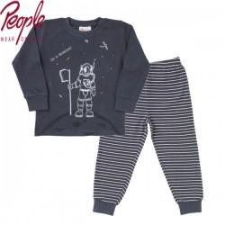 People Wear Organic - Bio Kinder Schlafanzug mit Astronauten-Druck und Streifen