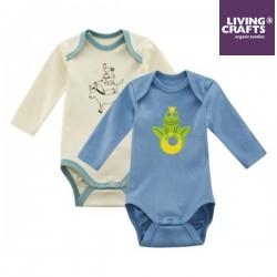 LIVING CRAFTS - Bio Baby Bodys langarm Doppelpack mit Märchen-Motiven, blau