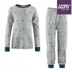 LIVING CRAFTS - Bio Kinder Schlafanzug langarm mit Berge-Motiv, blau