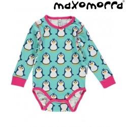 Maxomorra - Bio Baby Body mit Pinguin-Motiv