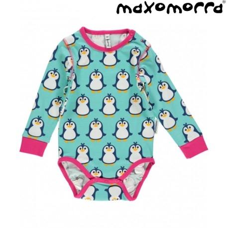 Maxomorra - Bio Baby Body mit Pinguin Druck