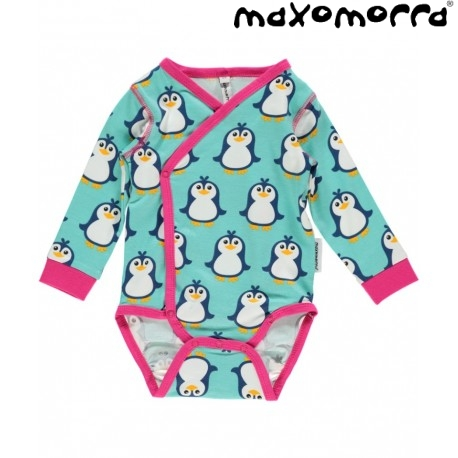 Maxomorra - Bio Baby Wickelbody mit Pinguin Druck