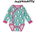 Maxomorra - Bio Baby Wickelbody mit Pinguin-Motiv