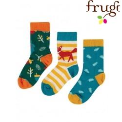 "frugi - Kinder Strümpfe 3er-Pack ""Rock my Socks"" Fuchs und Blätter"