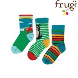"""frugi - Kinder Strümpfe 3er-Pack """"Rock my Socks"""" Kuh, Hund und Streifen"""