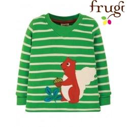 frugi - Bio Baby Langarmshirt mit Eichhörnchen-Applikation und Streifen