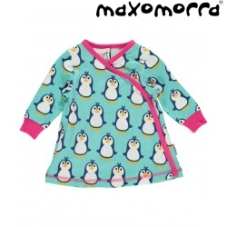 Maxomorra - Bio Baby Wickelkleid mit Pinguin-Motiv