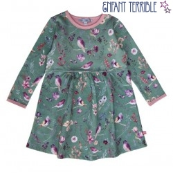 Enfant Terrible - Bio Kinder Sweatkleid mit Blumen-Allover, salbei