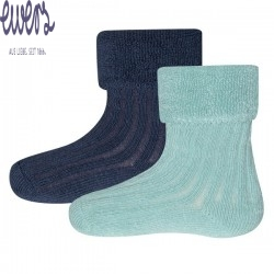Ewers - Bio Baby Flausch Socken Doppelpack, blau
