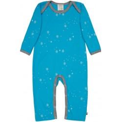 loud + proud - Bio Baby Strampler mit Schneeflocken-Allover, aqua