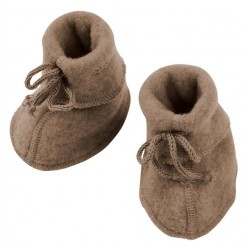 ENGEL - Bio Baby Fleece Schuhe, Wolle, walnuss