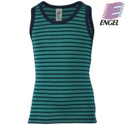 ENGEL - Bio Kinder Unterhemd gestreift, Wolle/Seide, eisvogel/marine