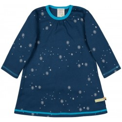 loud + proud - Bio Kinder Jersey Kleid mit Schneeflocken-Allover, ultramarine