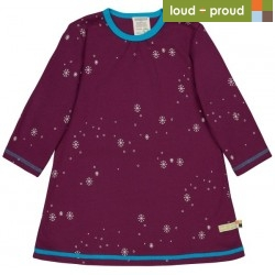 loud + proud - Bio Kinder Jersey Kleid mit Schneeflocken-Allover, plum