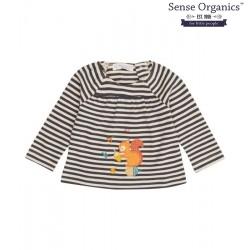 """Sense Organics - Bio Baby Langarmshirt """"Adsila"""" mit Eichhörnchen-Applikation und Streifen"""