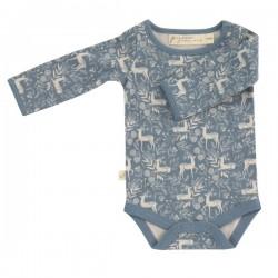 Pigeon - Bio Baby Body mit Reh-Allover, blau