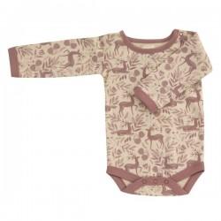 Pigeon - Bio Baby Body mit Reh-Allover, rosa