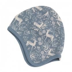 Pigeon - Bio Baby Mütze mit Reh-Allover, blau