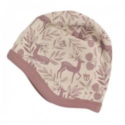 Pigeon - Bio Baby Mütze mit Reh-Allover, rose