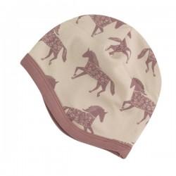 Pigeon - Bio Baby Mütze mit Pferde-Allover, rose