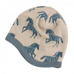 Pigeon - Bio Baby Mütze mit Pferde-Allover, blau