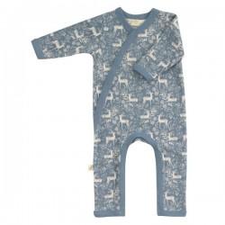 Pigeon - Bio Baby Strampler mit Reh-Allover, blau