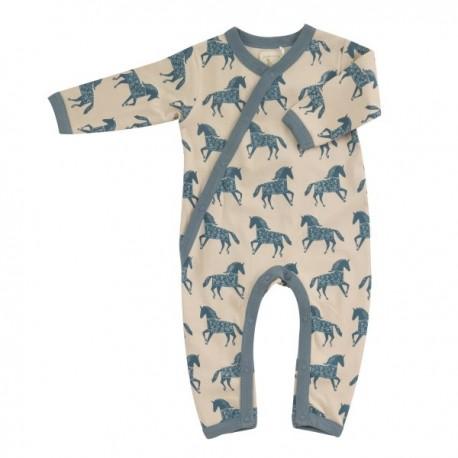 Pigeon - Bio Baby Strampler mit Pferde-Allover, blau