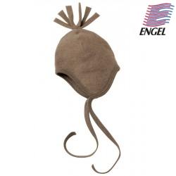 ENGEL - Bio Baby Fleece Mütze mit Puschel, Wolle, walnuss