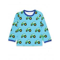 Toby tiger - Bio Baby Langarmshirt mit Traktor-Allover