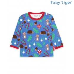 Toby tiger - Bio Baby Langarmshirt mit Waldtiere-Allover