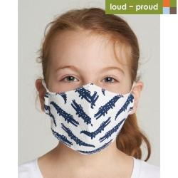 loud + proud - Bio Kinder Mund- und Nasenmaske mit Krokodil-Druck, blau