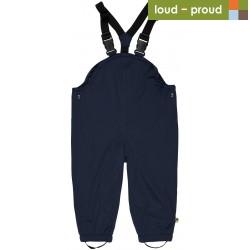 loud + proud - Bio Baby Regenhose mit Trägern, marine, wasserdicht