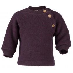ENGEL - Bio Baby Fleece Pullover mit Holzknöpfen, Wolle, lila