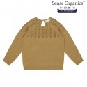 "Sense Organics - Bio Kinder Strickpullover ""Honovi"" mit Lochmuster, caramel"
