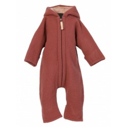 "Kitz Heimat - Bio Baby Fleece Overall ""Lou"" mit Kapuze, Wolle, dusty berry"