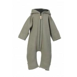 "Kitz Heimat - Bio Baby Fleece Overall ""Lou"" mit Kapuze, Wolle, shady green"